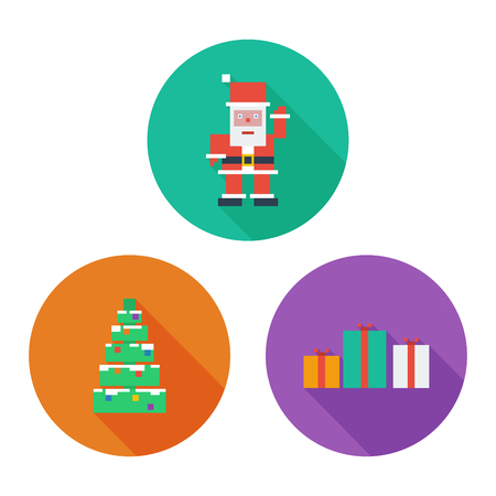 Vector Merry Christmas icon set. Flat pixel art.