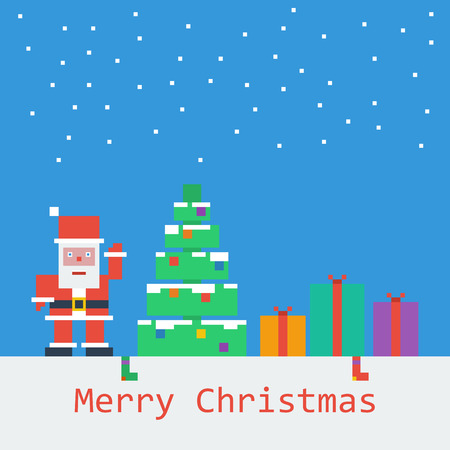 Vector Merry Christmas poster. Flat pixel art.