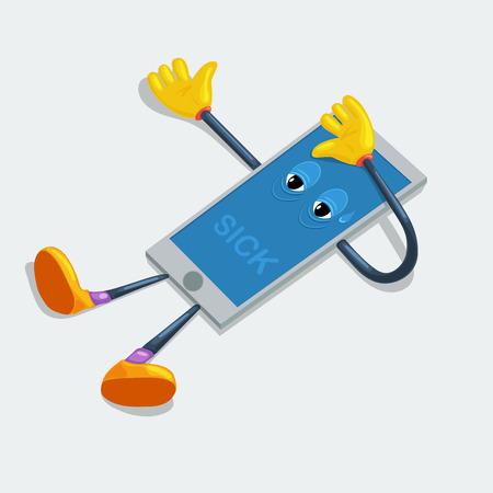 Vector sick phone. Broken cartoon phone
