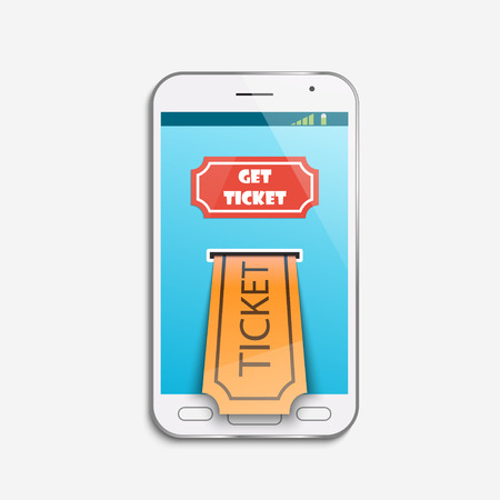 Mobile ticket online service. Tickets ordering. Vector illustration