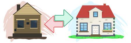house exchange: Flat real estate exchange. Vector illustration