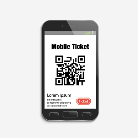 Mobile phone ticket online service. Tickets ordering. Vector illustration Illustration
