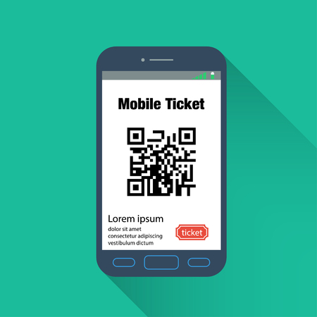 Flat mobile phone ticket online service. Tickets ordering. Vector illustration