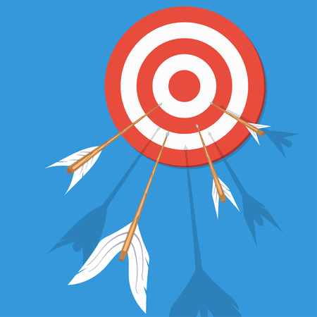 Arrows flying at the target. Vector illustration
