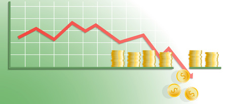 Falling chart with gold coins. Chart hit bottom line. Vector illustration.