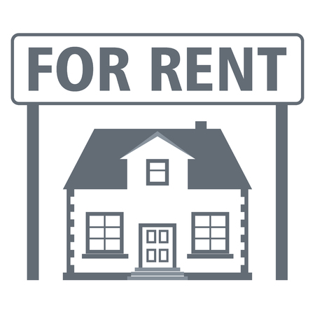 Real estate rental icon. House with a sign for rent. Vector illustration