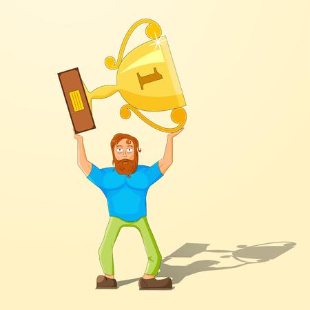 The achievement of high results. Cartoon man holding a trophy above his head. Vector illustration Illusztráció