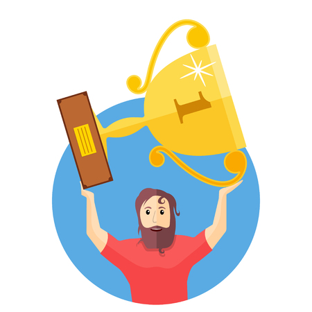 The achievement of high results. Man holding a trophy above his head. Flat vector illustration