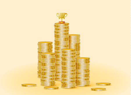 Stack of gold coins with the trophy cup. The trophy is standing on coins. illustration