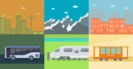 Set of flat public transport on the background of mountains and town houses. Posters for the sale of tickets for the tram, train and bus. Illustration Illustration
