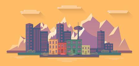 evening view of the city on a background of mountains. Flat  illustration Illustration