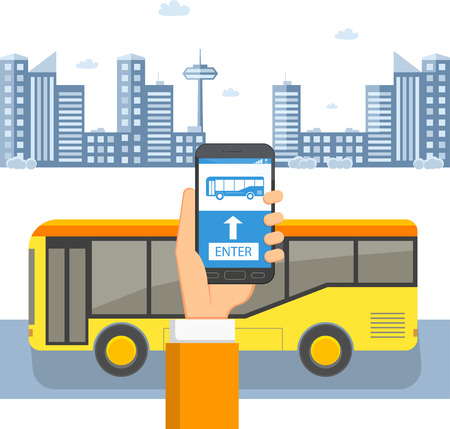 Ticket for public transport concept. Passenger's hand with a phone in front of a bus on the background of the city. Flat vector illustration Illustration