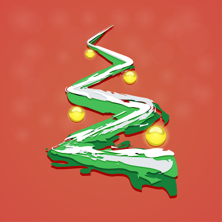 Christmas tree painted brush strokes with Christmas toys on a red background. Vector illustration Illustration