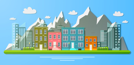 Day view of the city on a background of mountains. Flat vector illustration