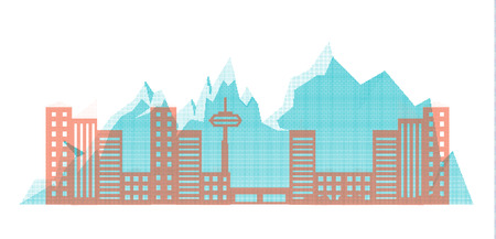 silhouette of the city of halftones on a background of mountains. Vector illustration