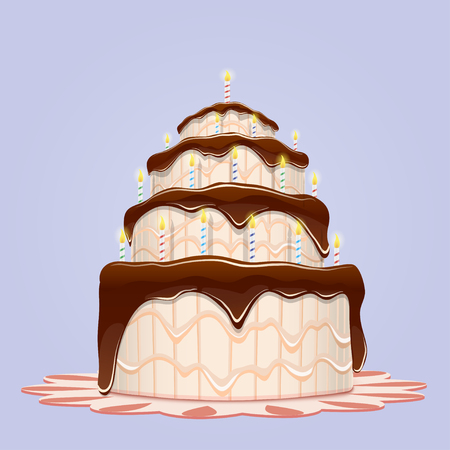 Big birthday cake with candles. Vector illustration