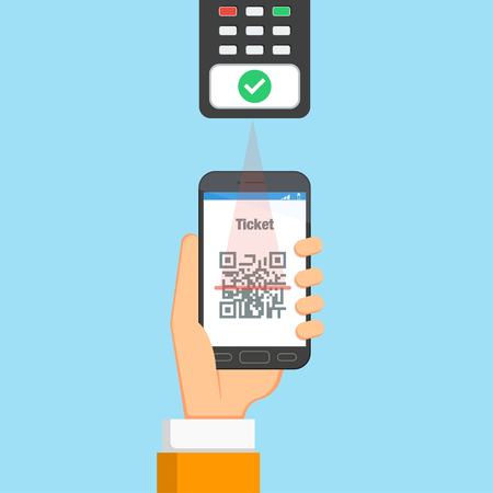 Flat mobile phone ticket. The device checks the electronic ticket on the phone in his hand. Vector illustration. Illustration