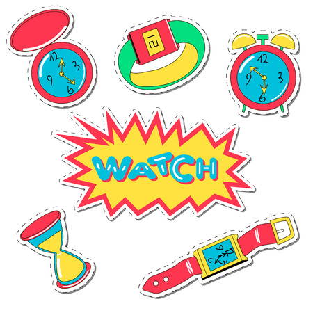Set of cartoon watch patch badges. Vector illustration