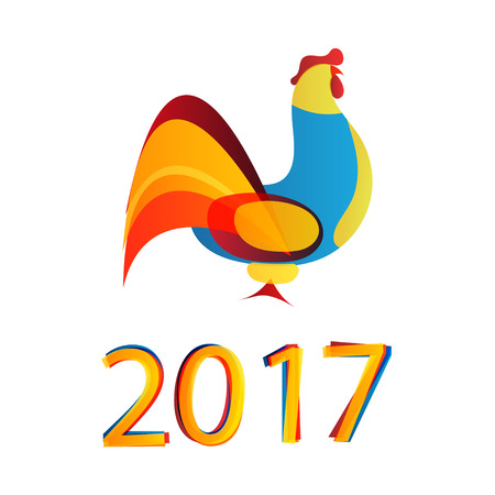 2017 chinese New Year of the Rooster. Vector Illustration Illustration