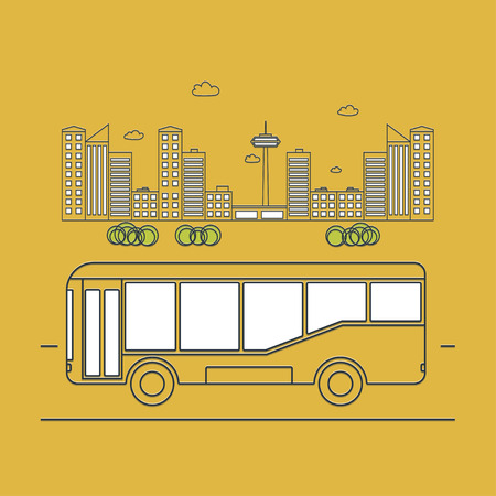 Public transport. Bus on the background of the city. outline vector illustration