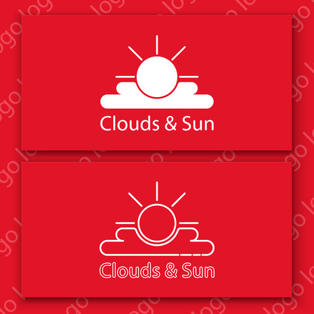 Vector logo set. White sun and clouds sign on a red card. Illustration