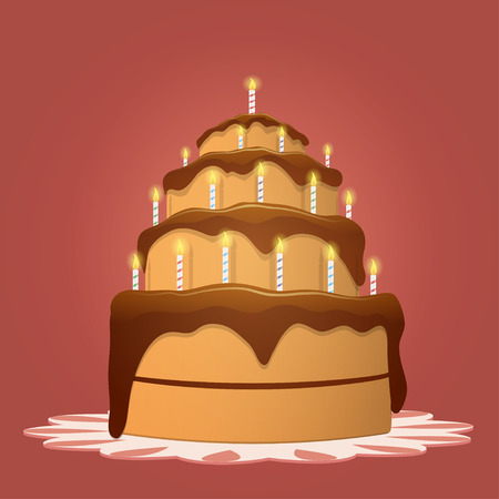 Big birthday cake with candles Illustration