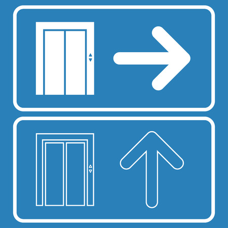 Building elevator sign with arrow indicates the direction