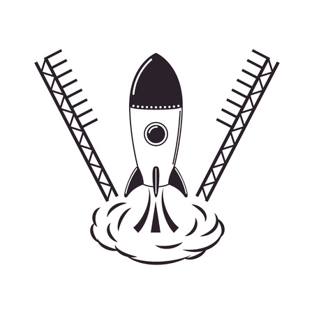 off: Rocket takes off from cosmodrome Illustration