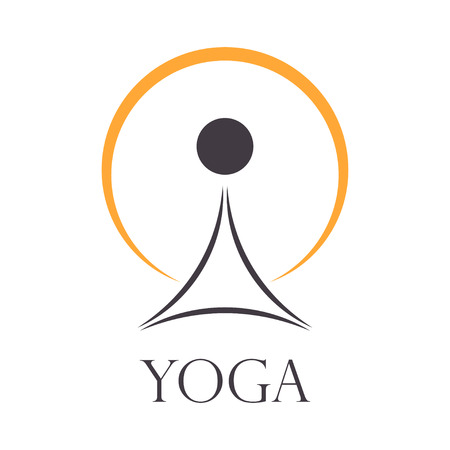 Vector yoga sign concept. Man meditating in lotus position on a sun background
