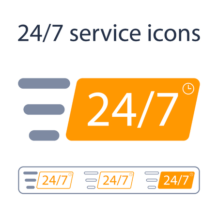 24/7 service icon set . Vector concept signs.
