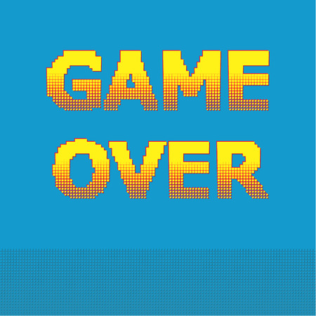 screen savers: 8-bit pixel game over message. Designs for banners, web pages, screen savers, presentations. Vector illustration.