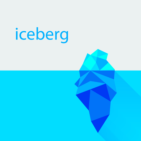 Polygonal iceberg in water template. Vector illustration Illustration