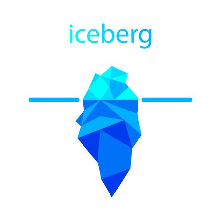 Polygonal iceberg in water icon. Vector illustration