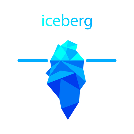Polygonal iceberg in water icon. Vector illustration