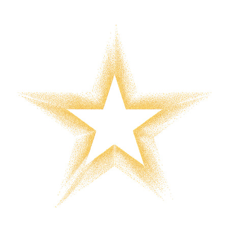 Gold star with particles on white background. Gold glitter texture effect Illustration