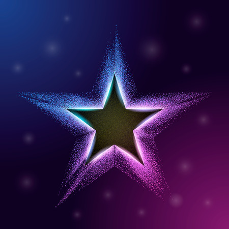 Color star with particles on white background. Glitter texture effect. Vector illustration