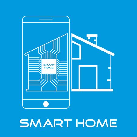 Outline smart home with smartphone and electronic circuit. Home automation concept.