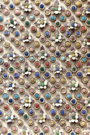 influenced: chinese influenced exterior wall decoration, made of pieces of porcelain attached to the surface