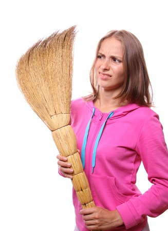 domestics: Woman with broom