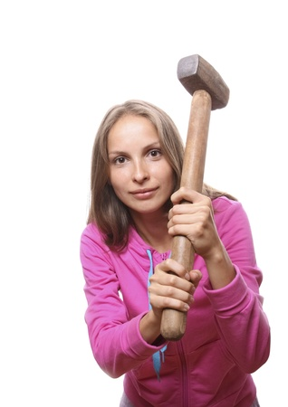 woman with hammer Stock Photo - 10320607