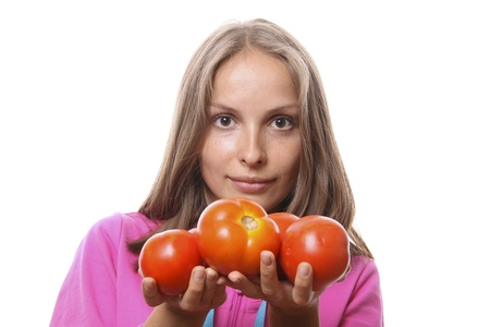 Woman with tomatoes Stock Photo - 10320609