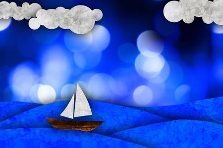 ocean storm: Sailboat, sea illustration