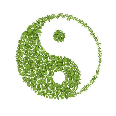 Floral yin yang simbolo, icona naturale armonie