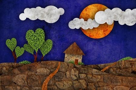 realstate: Suburban landscape, illustration Stock Photo