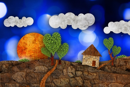 Suburban  landscape, illustration Stock Illustration - 10526387