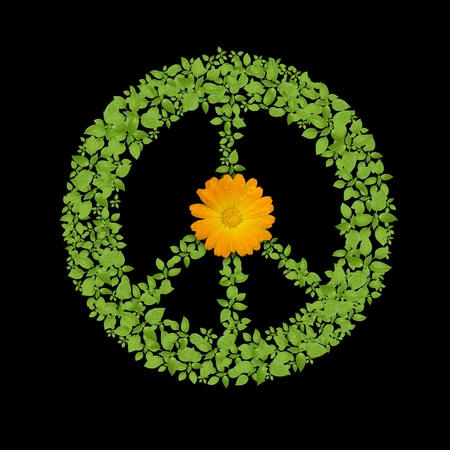 Green plant peace symbol photo