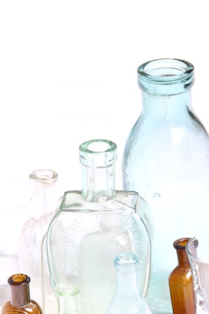veneno frasco: Botellas de vidrio de �poca Foto de archivo