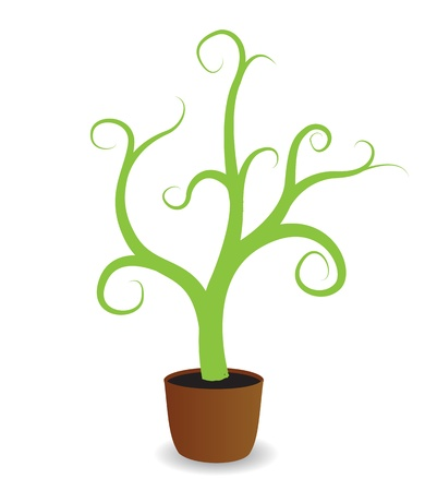 seed pots: A potted plant beginning to grow  Illustration