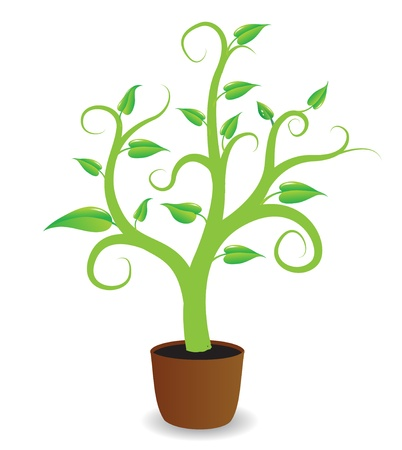 A potted plant beginning to grow  Stock Vector - 13489888