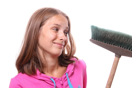 Woman with mop Stock Photo - 13490011